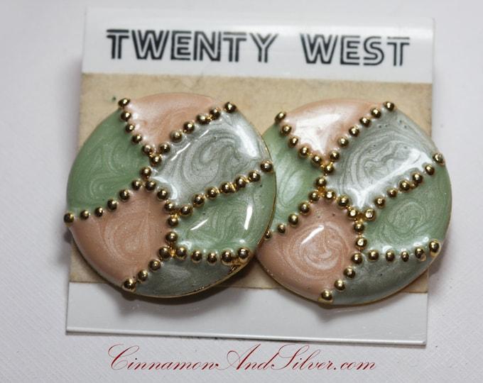 Peach and Mint Vintage Earrings, Vintage Twenty West Brand Large Round Pastel Earrings, Peach and Mint Large Round Vintage Earrings