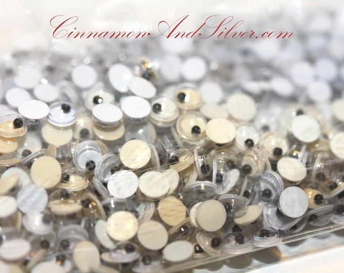 60 Pack Tiny Google Flat Back Craft Eyes 4mm & 5mm, Shaky Non-Adhesive Tiny Craft Eyes, Tiny Wiggle Craft Eyes
