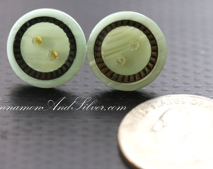 Classic Greecian Mint and Bronze Upcycled Button Earrings, Recycled Vintage Button Stud Earrings, Mint Green Reclaimed Button Post Earrings