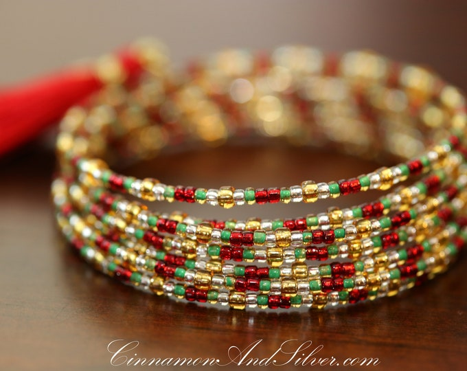 Red Green Gold Christmas Seed Bead Adjustable Memory Wire Bangle Bracelet, Multicolor Memory Wire Bracelet, Red Coil Wrap Seed Bead Bracelet