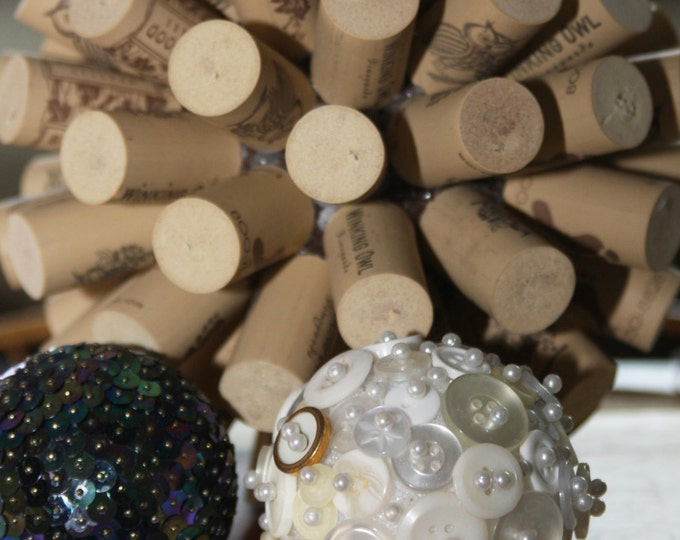 Upcycled Ball Decor, Wine Cork Decor, Peacock Sequin Ball Decor, Upcycled Vintage White Button Ball Decor, Upcycled Orb Bowl Vase Decor