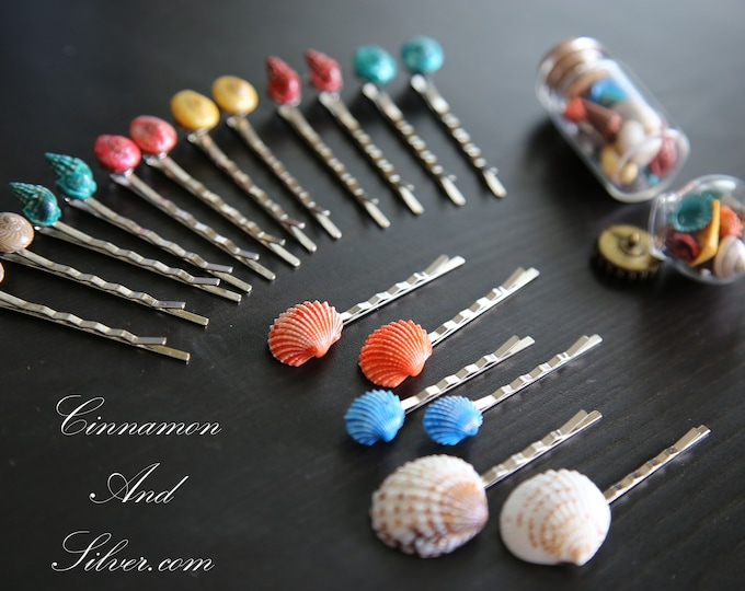 Colorful Seashell Bobby Hair Pins, Shell Hair Accessories for Girls, Multicoloured Shell Hair Jewelry, Multicolored Shell Hair Pins