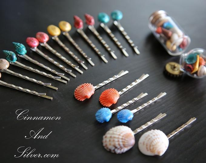 Colorful Seashell Bobby Hair Pins, Shell Hair Accessories for Girls, Multicoloured Shell Hair Jewelry, Multicolored Shell Hair Pins