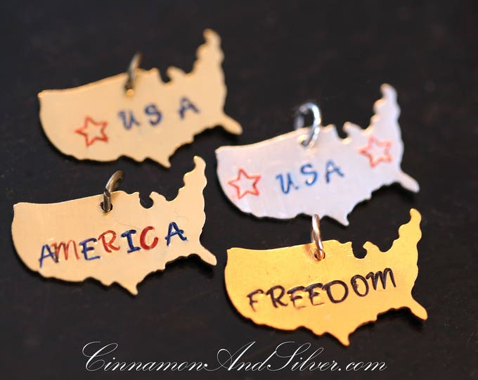 Retro Map of America Hand Stamped Pendants for July Fourth, USA Map Patriotic Stamped Pendant Tags, Custom Stamped United States Map Jewelry