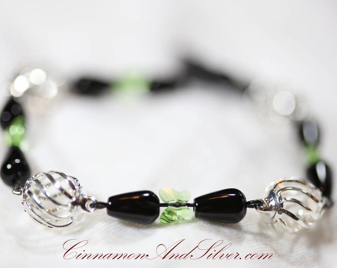 Swarovski Crystal Green Butterfly and Gemstone Link Bracelet, Green and Black Obsidian Gemstone Link Bracelet, Silver Cage Gemstone Bracelet