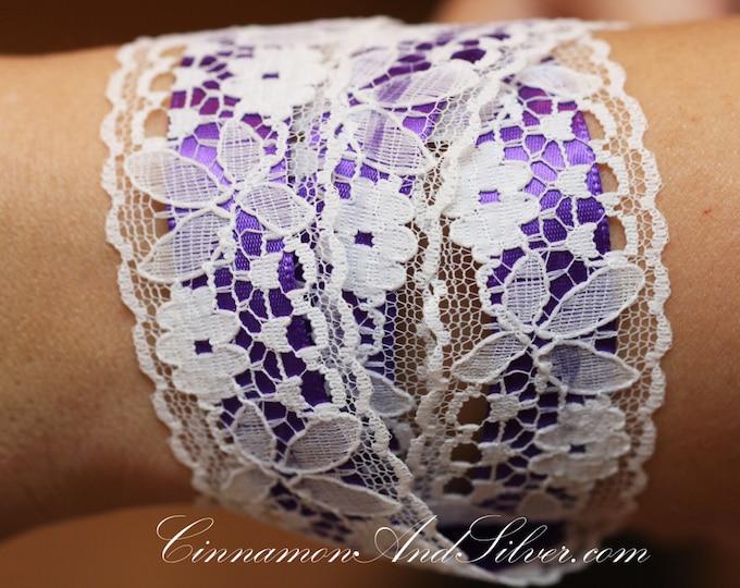 Purple and White Lace Romantic Ribbon Wrap Bracelet, Purple Ribbon Bracelet, White Lace Ribbon Bracelet, Purple Lace Wrap Bracelet