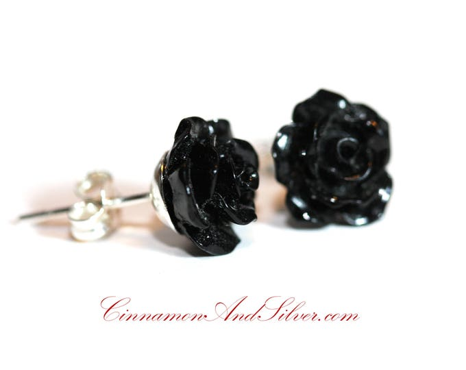Black Rose and Sterling Silver Stud Earrings, Black Rose Flower Post Earrings, Black Victorian Rose Post Earrings, Gothic Rose Stud Earrings