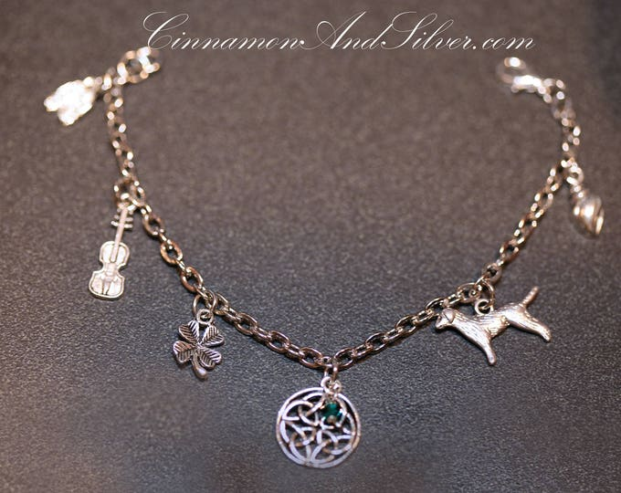St. Patrick's Day Celtic Irish Charm Bracelet, Silver Tone Irish Charm Bracelet, Saint Patrick's Day Silver Charm Bracelet