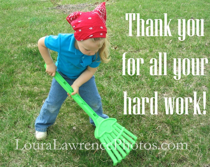 Thank You Photography Card or Print Instant Download, Little Girl at Play Photo, Child Raking Leaves Photo, Hard at Work Photo, Child Art