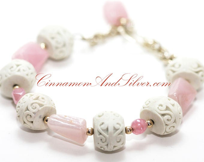 Pastel Pink Glass Bead and Ivory Cinnabar Bead Statement Bracelet, Pink Beaded Memory Wire Bangle Bracelet, Pink and Ivory Beaded Bracelet