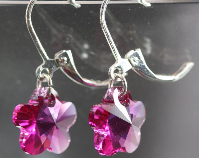 Retro Pink Flower Crystal Drop Leverback Earrings, Sparkling Pink Crystal Flower Drop Leverback Earrings, Pink Crystal Flower Girl Earrings