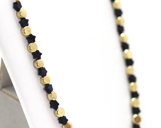 July 4th Blue Goldstone Stars Necklace, Navy Blue Goldstone Stars and Gold Round Beads Patriotic Necklace