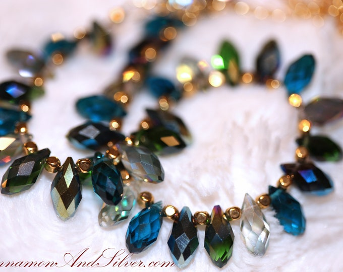 Sparkling Swarovski Teal Crystal Teardrop Necklace, Blue and Green Crystal Raindrop Necklace, Peacock Teal Crystal Droplet Jewellery