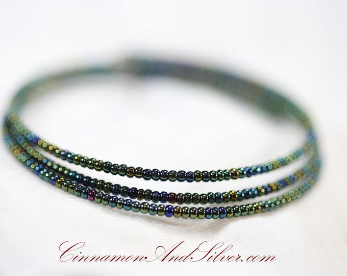 Olive Green Iridescent Shimmer Hippie Seed Bead Adjustable Memory Wire Bangle Bracelet, Shimmering Olive Coil Wrap Seed Bead Bracelet