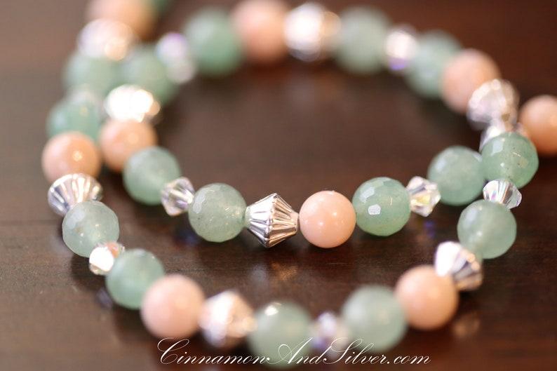 Gypsy Rose Pink Quartz and Jade Green Aventurine Boho Gemstone image 0