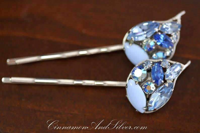 Upcycled Vintage Blue Glass and Aurora Borealis Rhinestone image 0