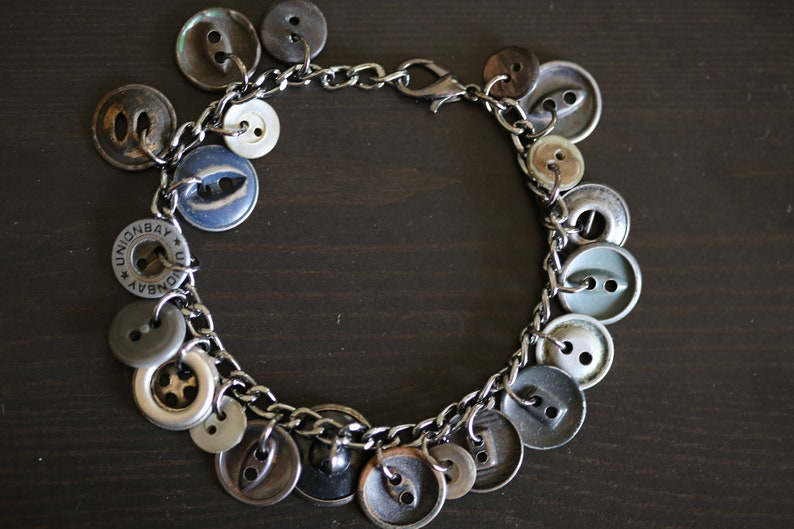 Upcycled Gray Metal Vintage Button Charm Bracelet Grey Metal image 0
