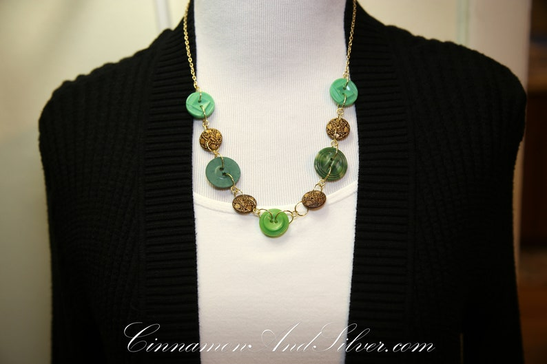 Vintage Button Necklace Green and Antique Gold Lucky Charms image 0