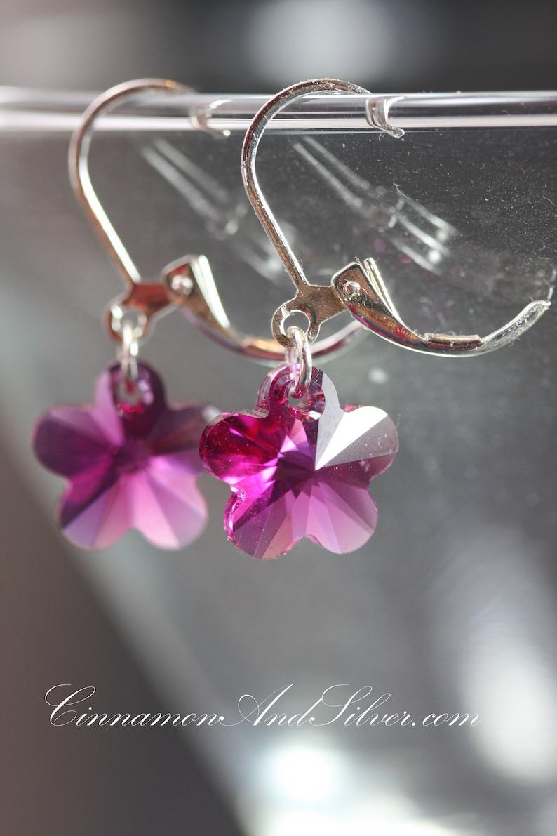 Sparkling Fuschia Swarovski Crystal Flower Drop Sterling image 0