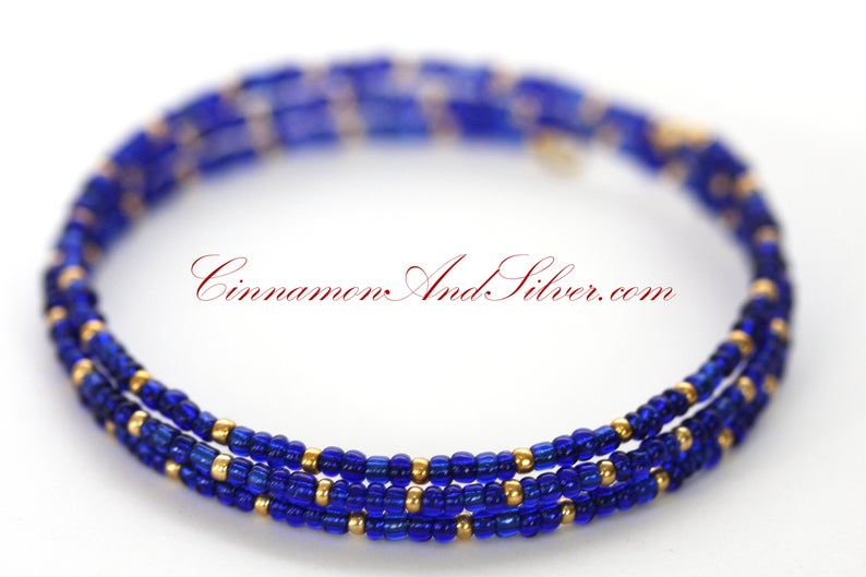Cobalt Blue and Gold Stacking Wrap Seed Bead Adjustable Memory image 0
