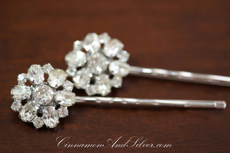 Upcycled Vintage Jewelry Bobby Pins with Clear Glass Flower image 0