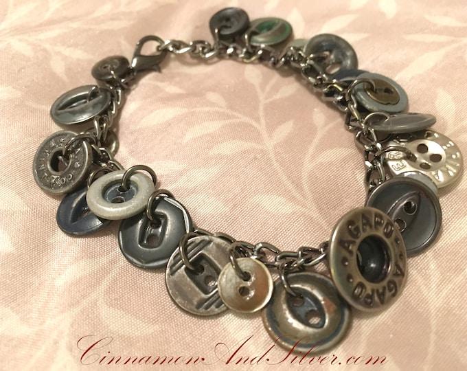 Upcycled Gunmetal Gray Metal Vintage Button Charm Bracelet, Gray Boho Button Charm Bracelet, Punk Grunge Rocker Metal Button Charm Bracelet