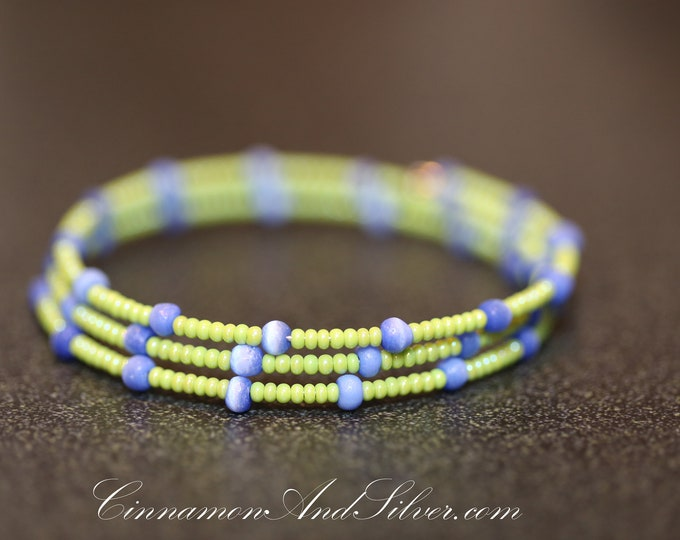 Lime Green and Blue Cats Eye Seed Bead Stacking Bracelet, Blue and Green Adjustable Memory Wire Bangle Bracelet, Bright Green Coil Bracelet