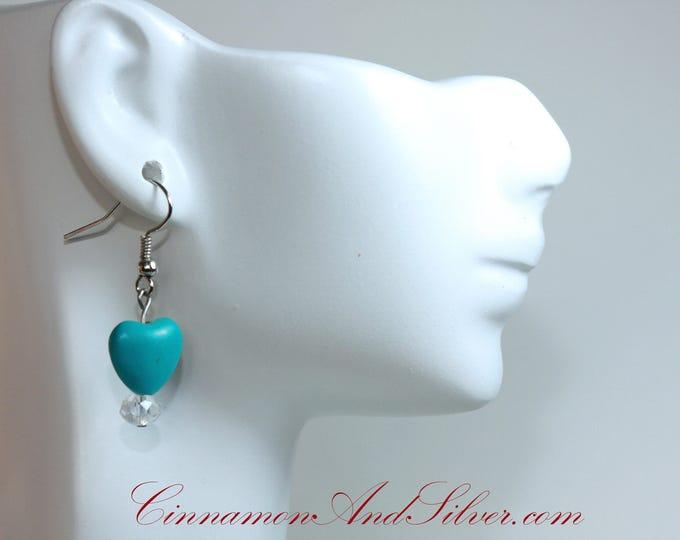 Turquoise Blue Gemstone Heart Earrings, Blue Gemstone Sparkle Heart Drop Earrings, Valentine's Turquoise Heart Sparkle Earrings