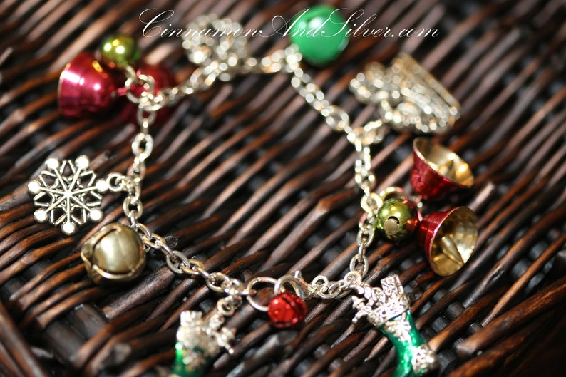 Upcycled Retro Vintage Festive Christmas Party Charm Bracelet image 0