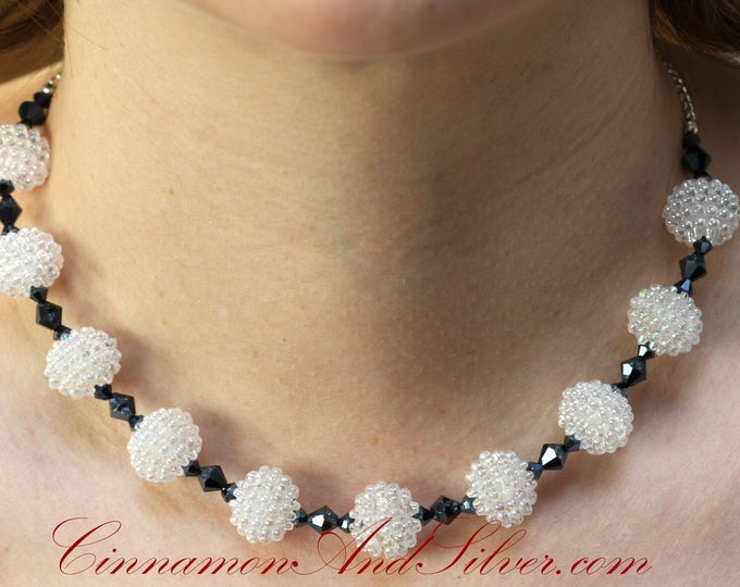 Black and White Shamballa Sparkle Beaded Necklace, Black Sparkle Choker Necklace, Victorian Sparkle Necklace, Snowball Sparkle Necklace
