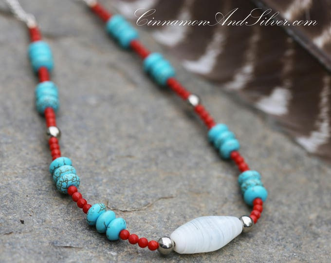 Turquoise Blue and Red Coral Country Western Necklace, Turquoise and Coral Native American Necklace, Turquoise Southwestern Beaded Necklace