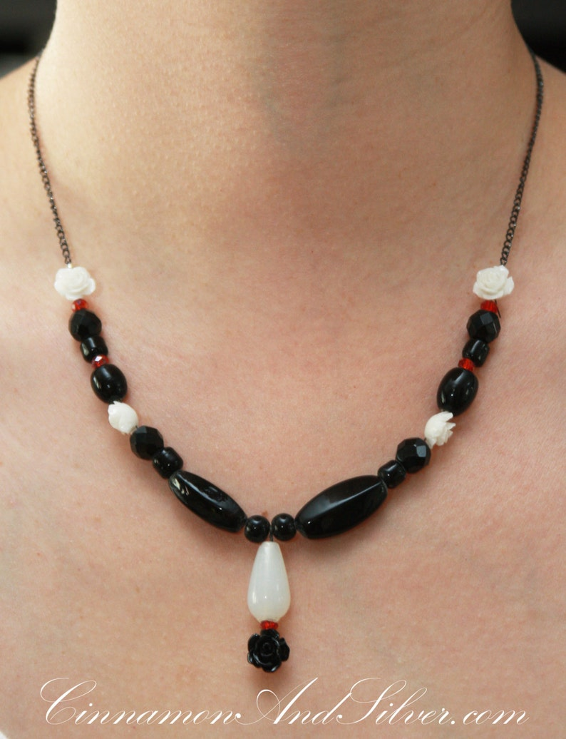 Rose Black and White Beaded Glass Victorian Gothic Necklace image 0