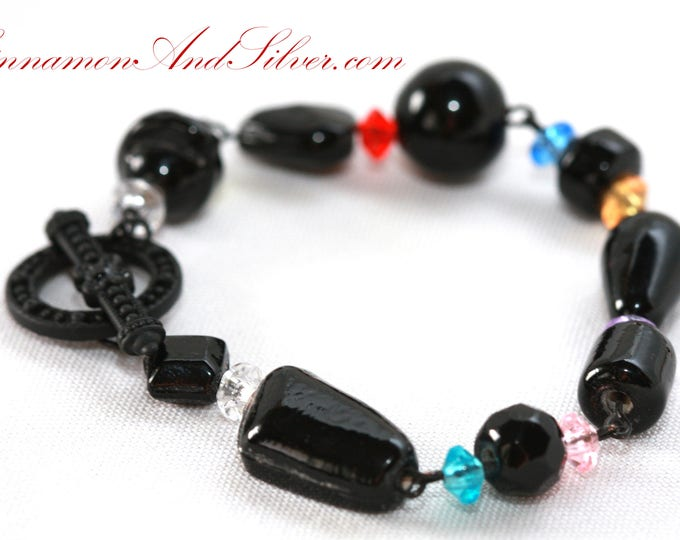 Rainbow and Black Glass Beaded Petite Link Bracelet, Multicolor Small Toggle Link Bracelet, Childrens Black and Rainbow Beaded Link Bracelet