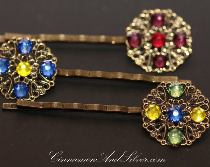 Geometric Rhinestone Hair Accessories, Vintage Inspired Jeweled Hair Pins, Vintage Style Wedding or Special Occassion Bobby Hair Pins