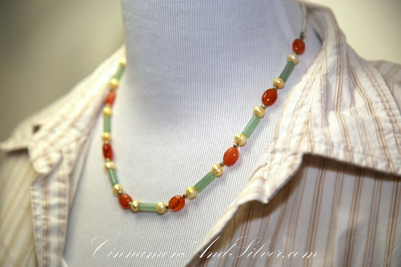 Orange Carnelian Green Jade and Yellow Dyed Freshwater Pearl image 0