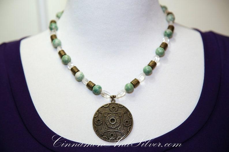 Gypsy Boho Green Jade and Clear Quartz Beaded Gemstone Bronze image 0
