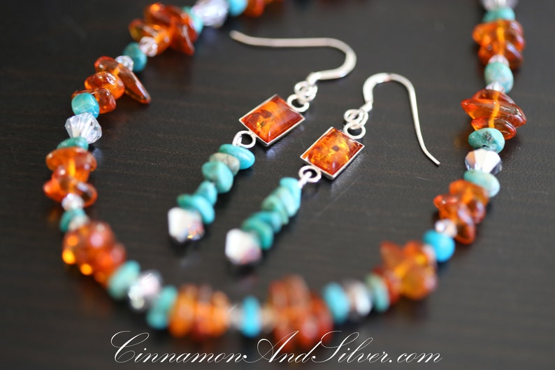 Amber and Turquoise Sterling Silver Necklace and Earrings Set image 0