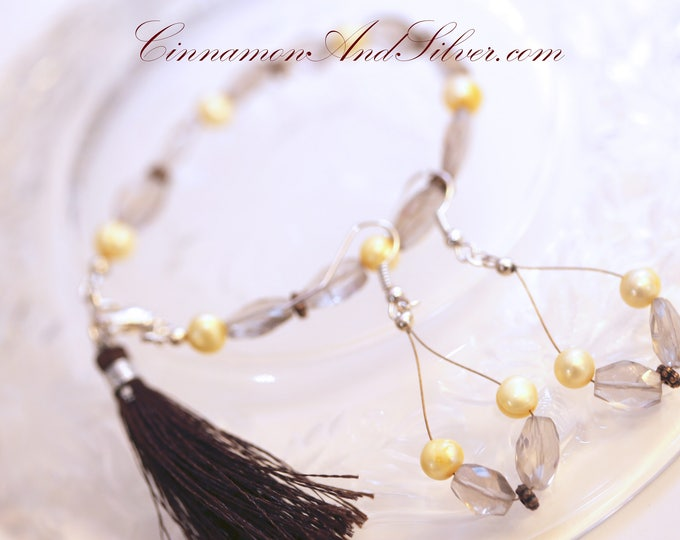 Elegant Smoky Quartz Gemstone and Yellow Dyed Cultured Pearl and Antiqued Copper Bead Link Bracelet and Teardrop Hoop Dangle Jewelry Set