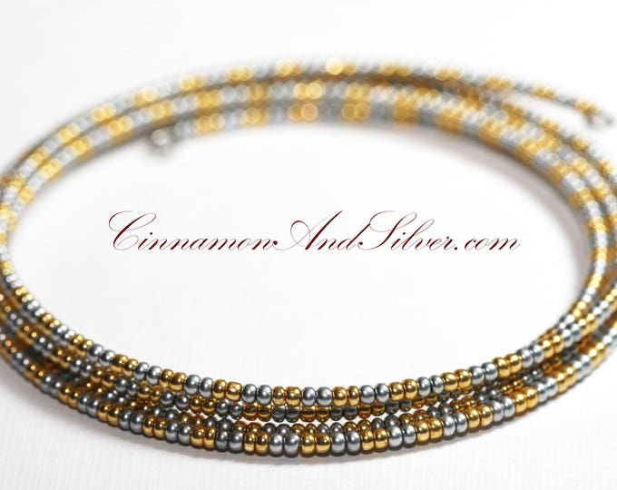Silver and Gold Hippie Seed Bead Coil Bracelet, Silver Bangle Bracelet, Silver Memory Wire Bracelet, Multicolor Coil Wrap Seed Bead Bracelet