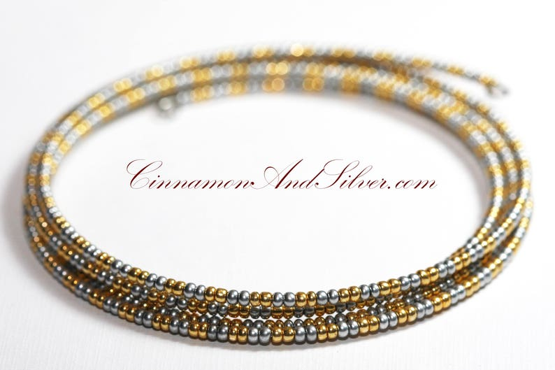 Matte Gold and Silver Seed Bead Boho Hippie Stacking Coil Wrap image 0