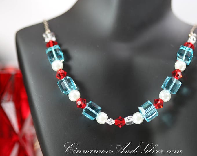 Sparkling Ice Blue Crystal Cube with Glass Pearls and Red Crystals Collar Necklace, Red White and Blue Crystal Butterfly Collar Necklace