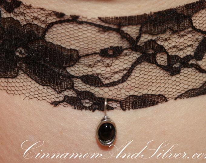 Black Lace Romantic Ribbon Choker Necklace, Black Victorian Lace Choker, Black Holiday Ribbon Choker, Black Steampunk Lace Ribbon Necklace