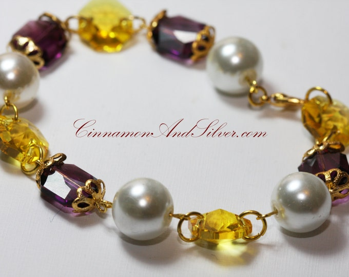 Purple and Yellow Crystal Link Swarovski Bracelet, Purple Crystal Swarovski Bracelet, Purple and Yellow Crystal Link Bracelet