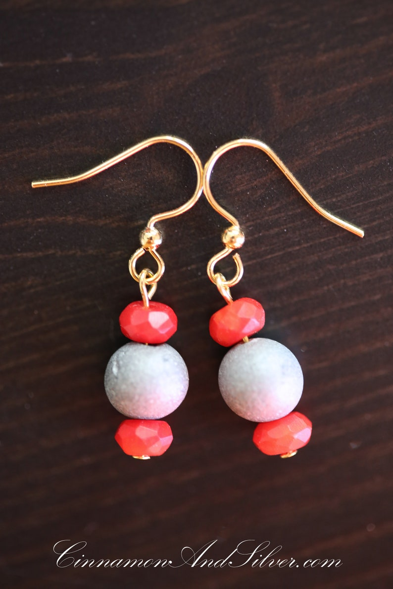 Red Coral and Grey Druzy Agate Gemstone Dangle Earrings Red image 0