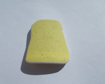 yellow lemon sea pottery piece - yellow beach glass - double sided colour