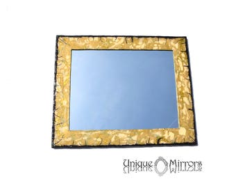 CLASSIC Mirror for Bathroom, Decorative Wall Mirror, Rectangular Mirror, Large Mirror in Golden and Black Colors, Home Decor