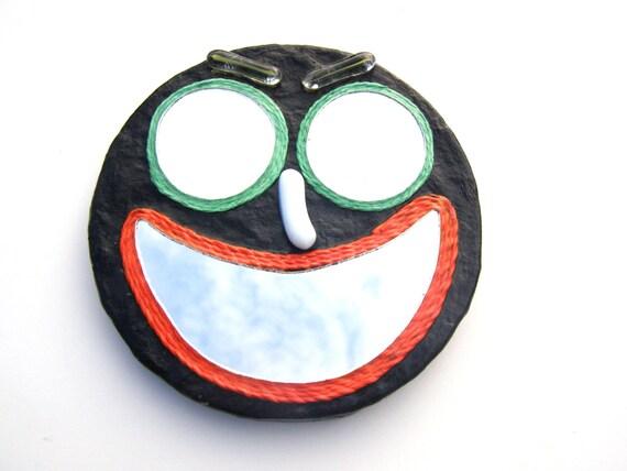 Grateful Dead décoratif mur miroir, voler votre visage Green-eyed noir Smiley, deadhead décor, meubles hippie