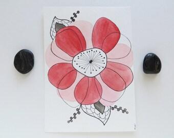 SALE, Retro Modern Flower, watercolor painting, modern nursery, original art, red and black, Eames inspired art