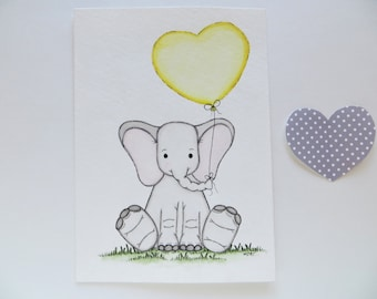 SALE, nursery decor, watercolor painting, ORIGINAL painting, nursery painting, baby elephant, childrens wall decor, grey and yellow