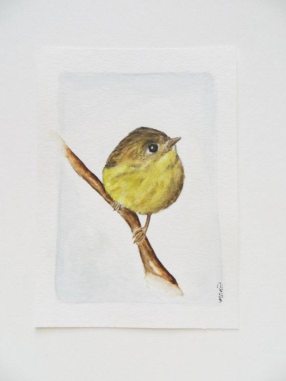 Little Yellow Bird >> Watercolor Bird Painting Original Painting Little Yellow Etsy